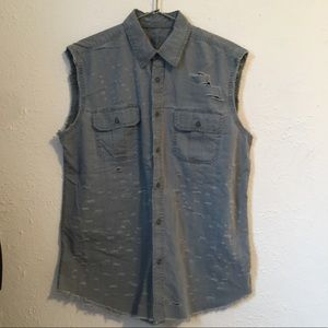 Tops - Army green hand distressed sleeveless  vest/tunic